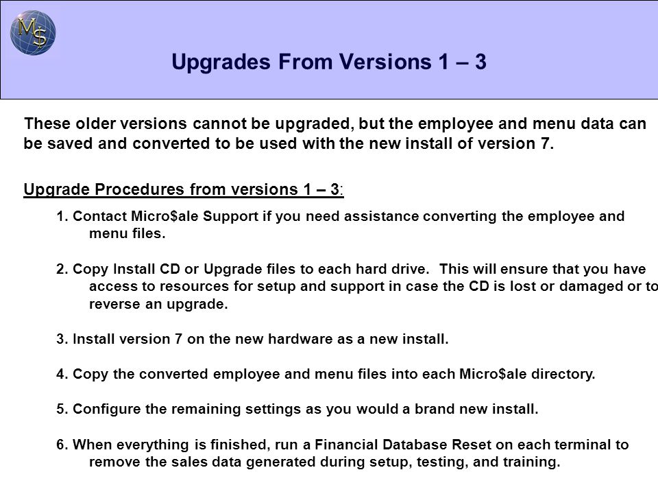 Upgrades From Versions 1 – 3