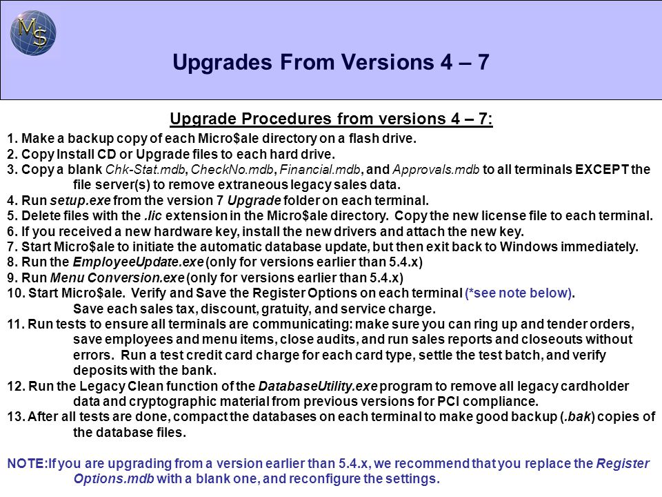 Upgrades From Versions 4 – 7