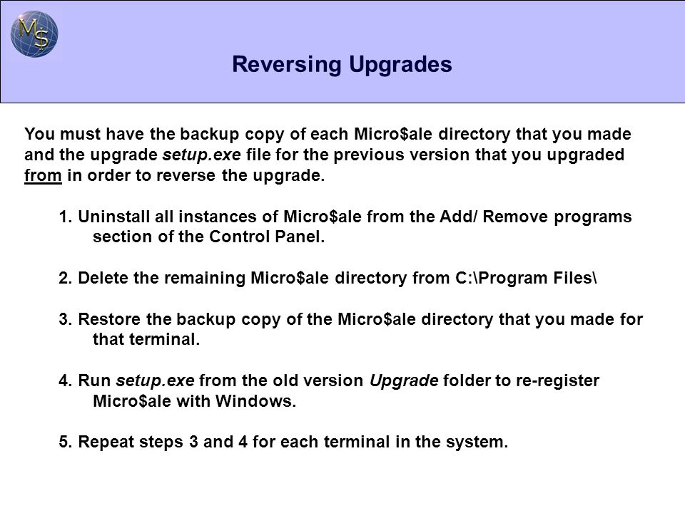 Reversing Upgrades
