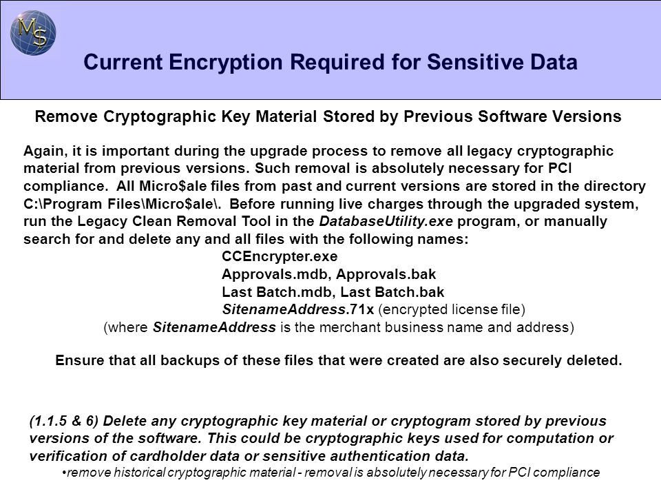 Current Encryption Required for Sensitive Data