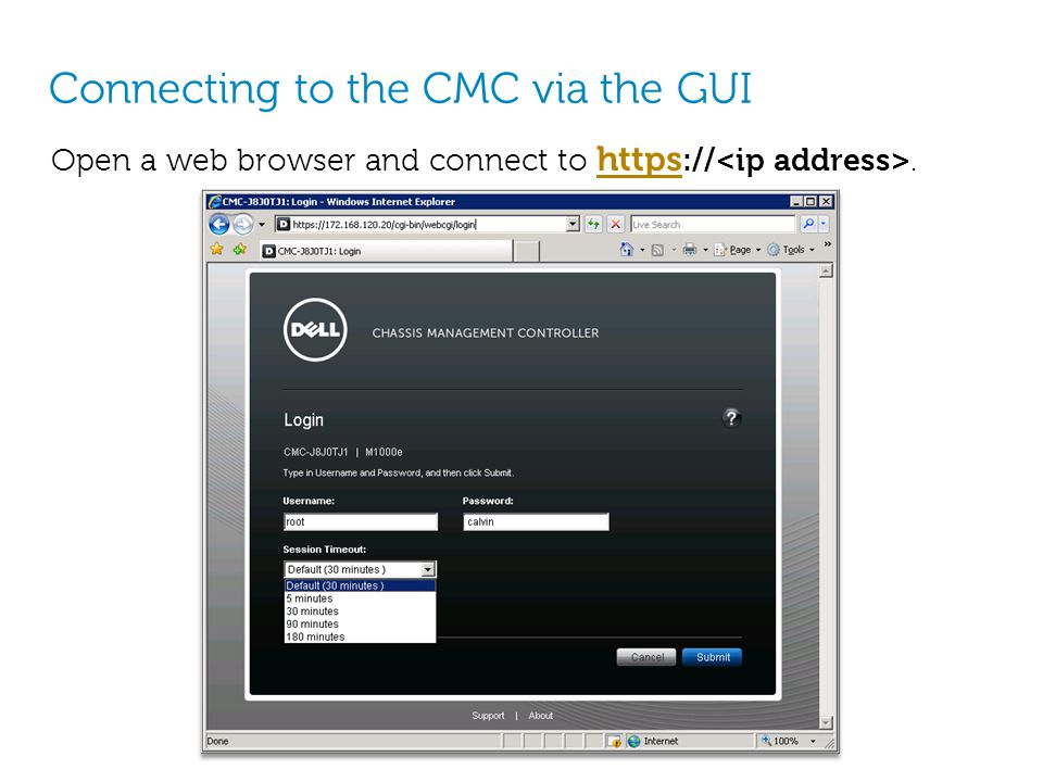Connecting to the CMC via the GUI