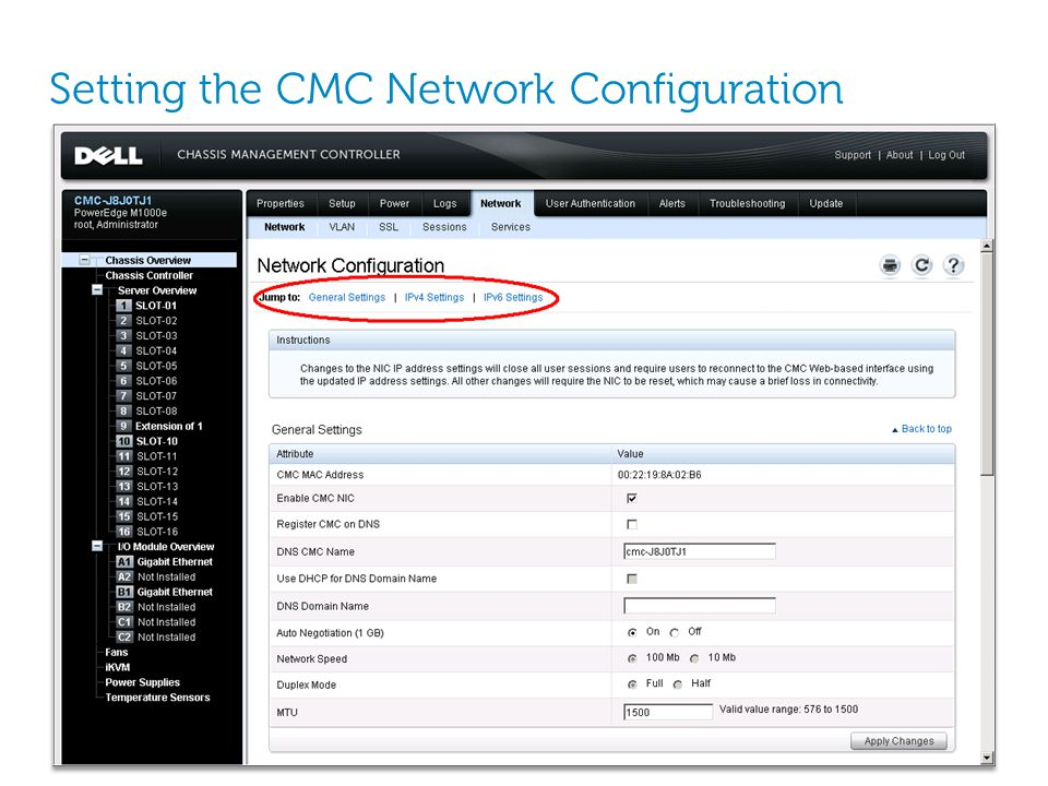 Setting the CMC Network Configuration