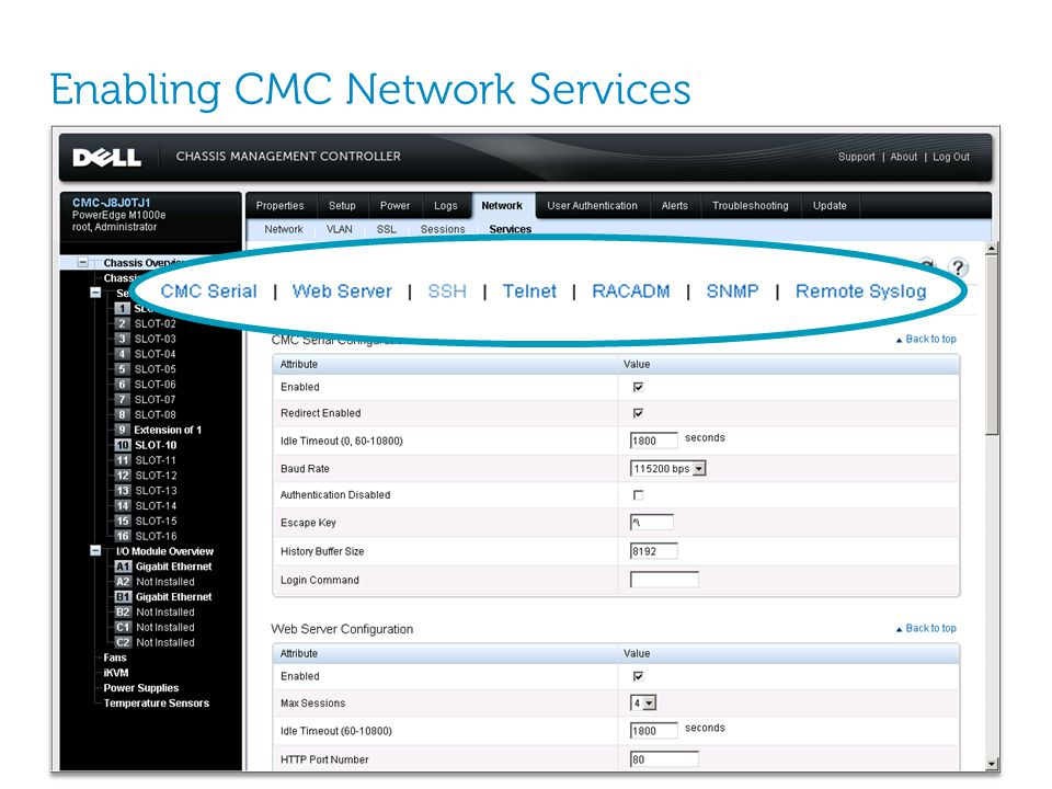 Enabling CMC Network Services