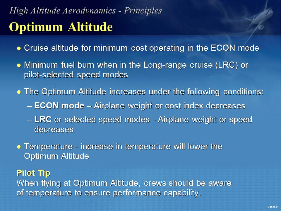 Optimum Altitude High Altitude Aerodynamics - Principles