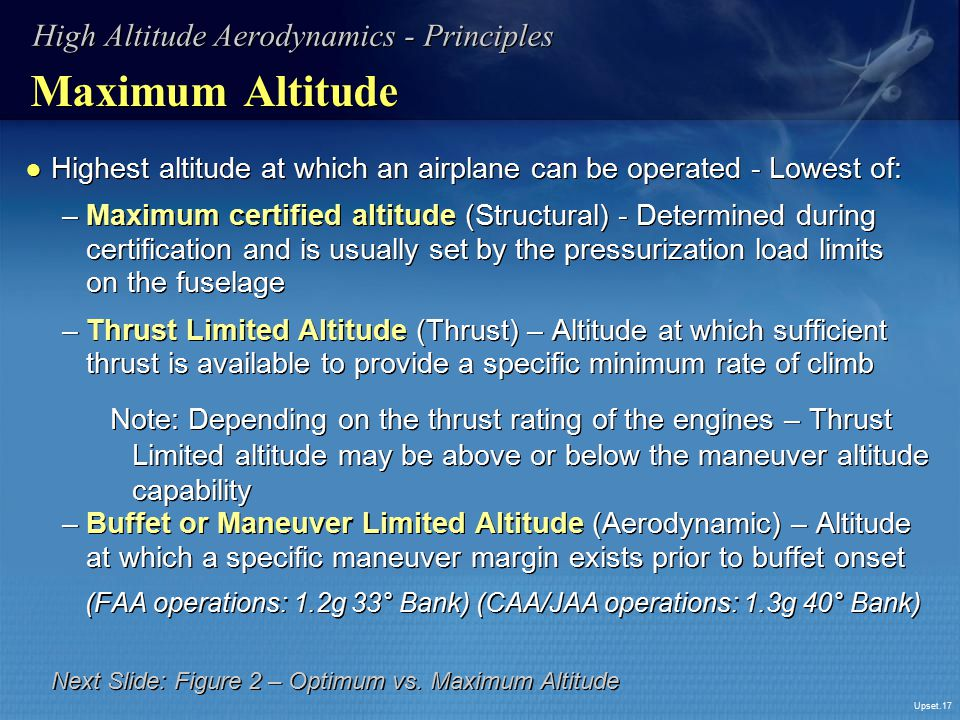 Maximum Altitude High Altitude Aerodynamics - Principles