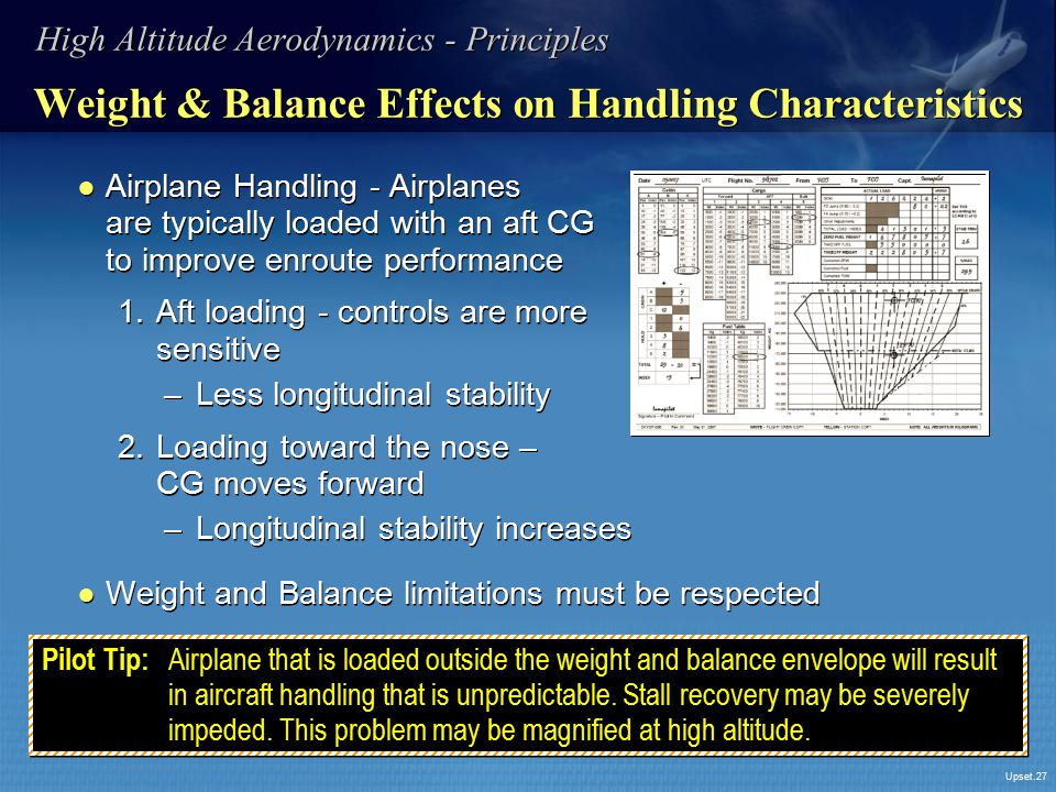 Weight & Balance Effects on Handling Characteristics