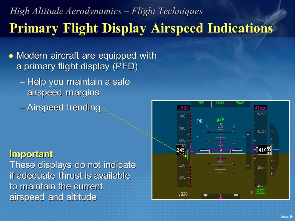 Primary Flight Display Airspeed Indications