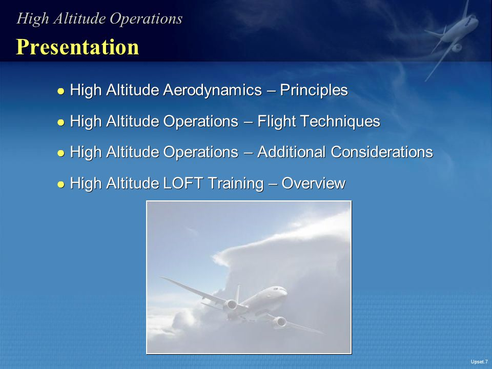 Presentation High Altitude Operations