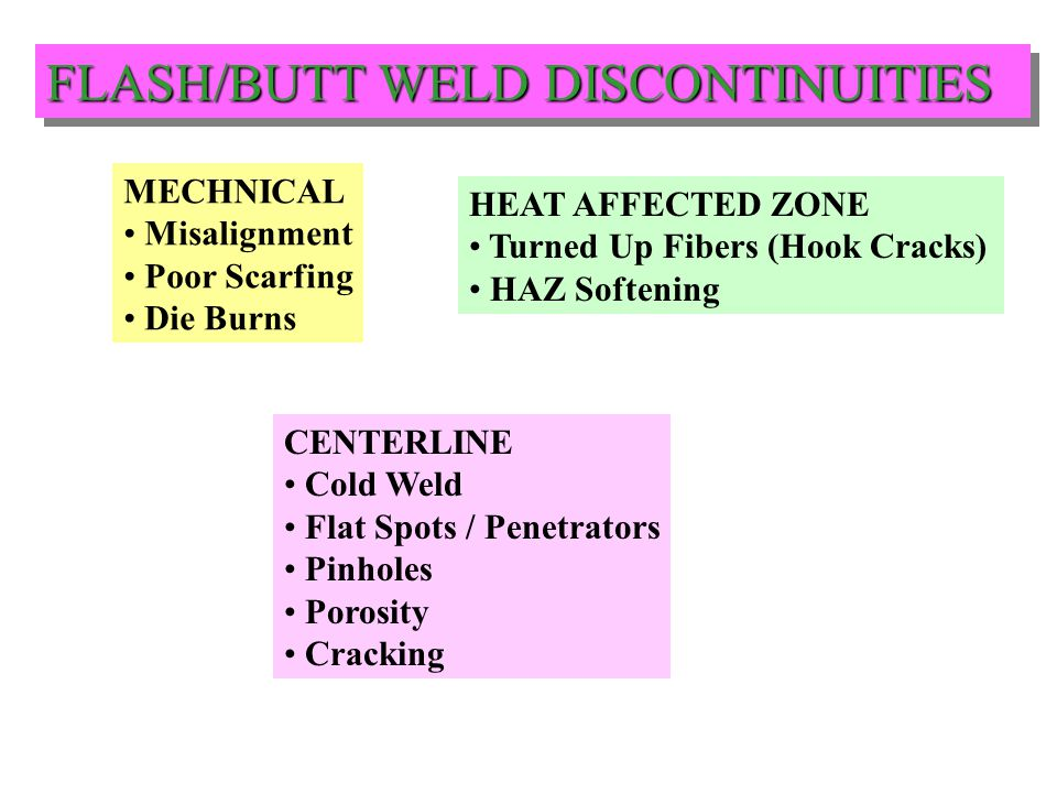 FLASH/BUTT WELD DISCONTINUITIES
