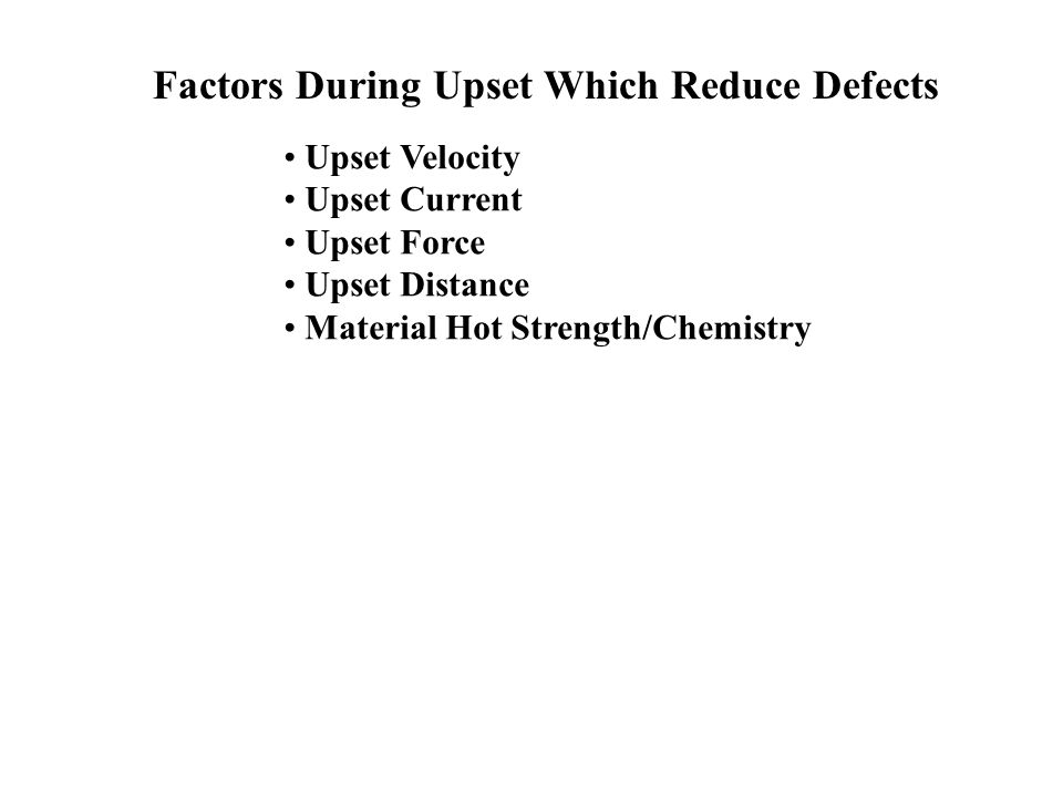 Factors During Upset Which Reduce Defects
