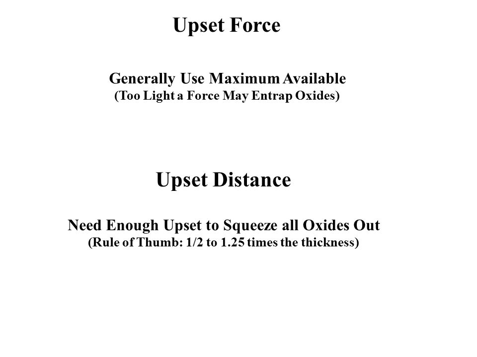 Upset Force Upset Distance