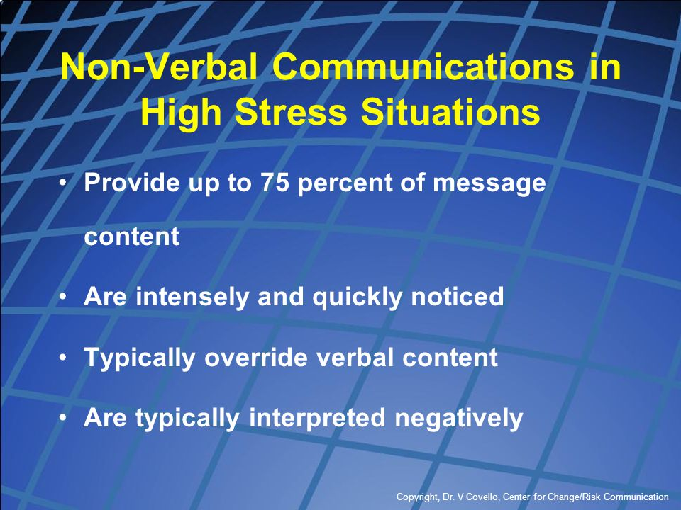 Non-Verbal Communications in High Stress Situations