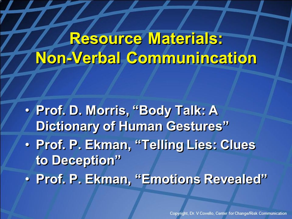 Resource Materials: Non-Verbal Communincation