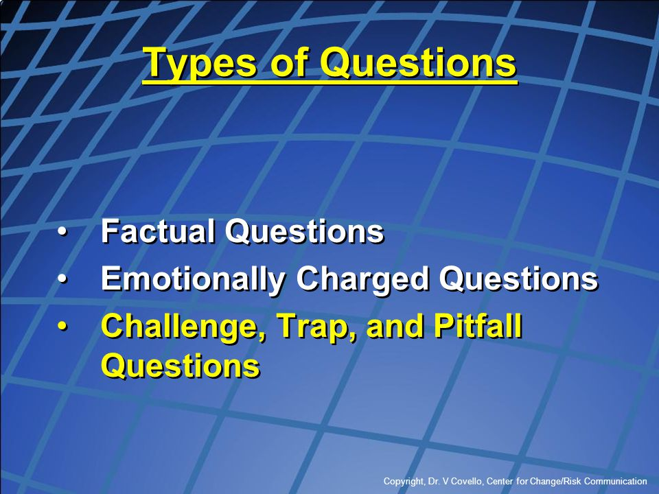 Types of Questions Factual Questions Emotionally Charged Questions