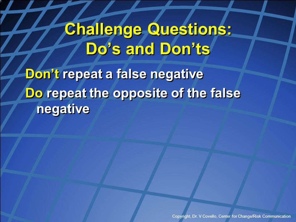Challenge Questions: Do's and Don'ts