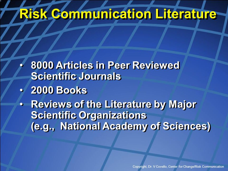 Risk Communication Literature
