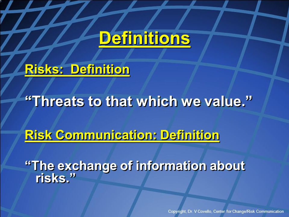 Definitions Threats to that which we value. Risks: Definition