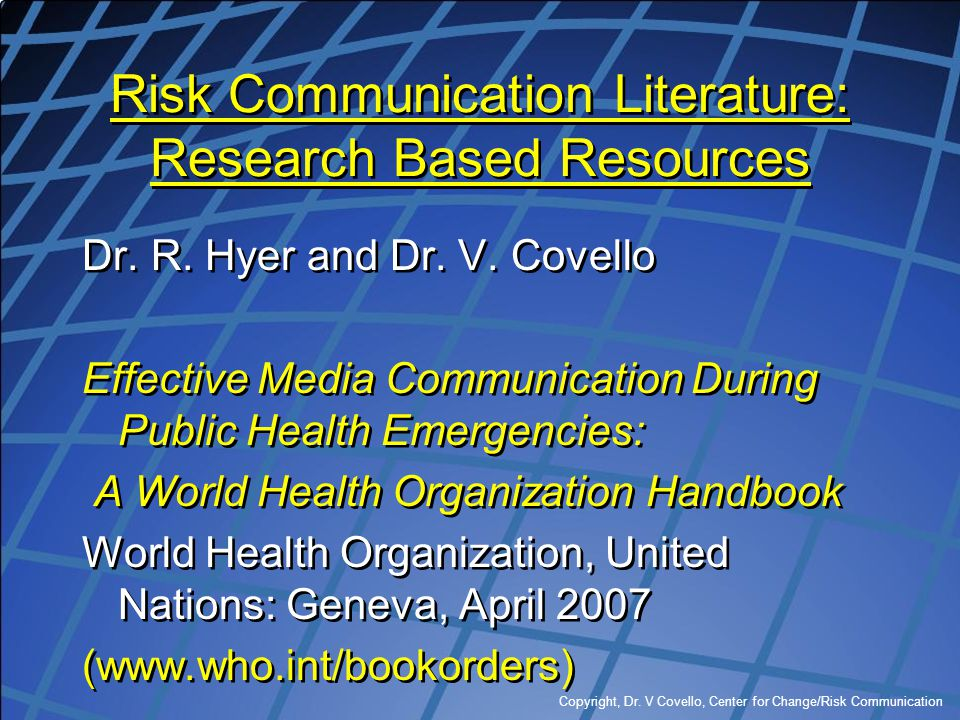 Risk Communication Literature: Research Based Resources