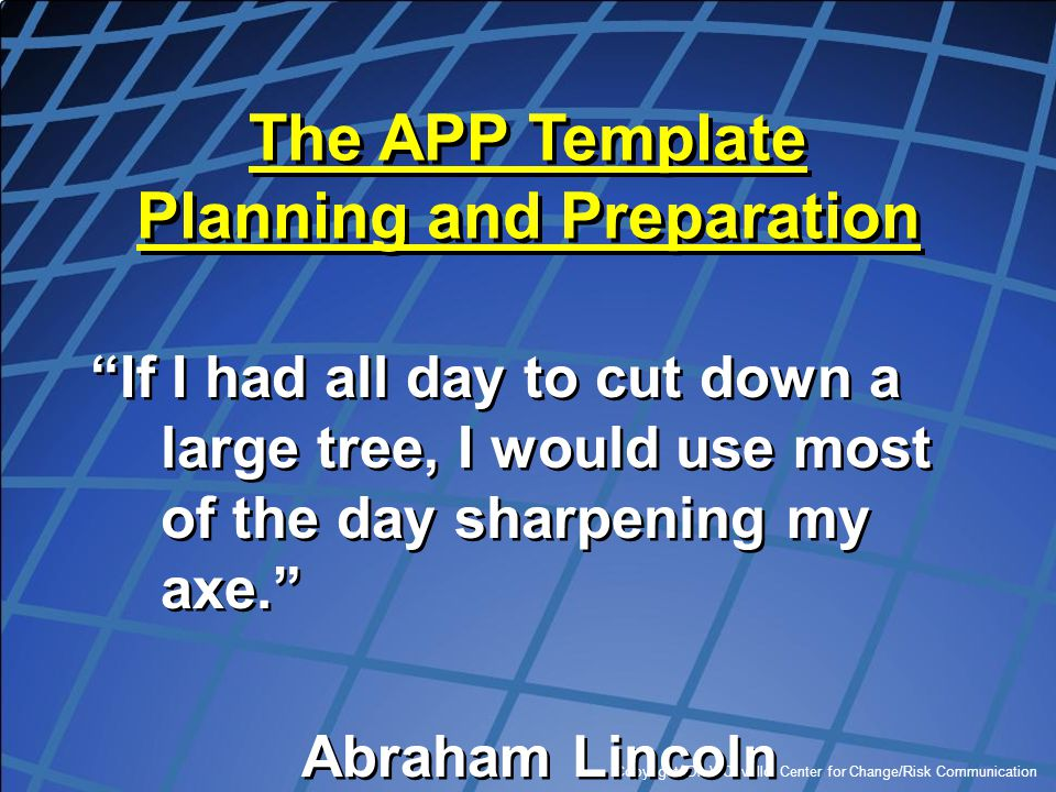 The APP Template Planning and Preparation