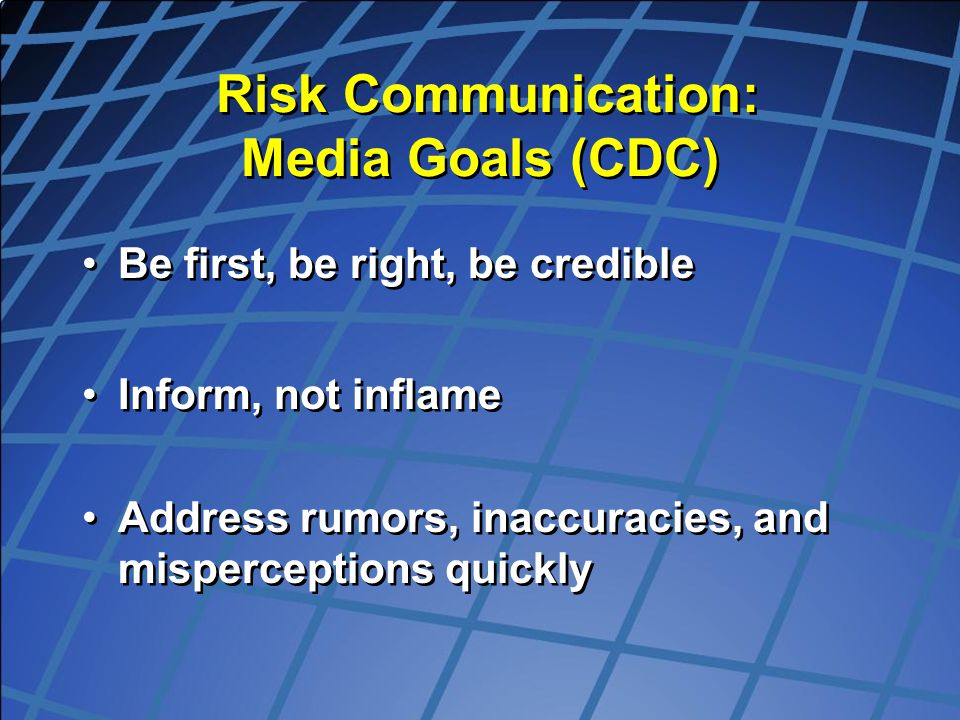 Risk Communication: Media Goals (CDC)