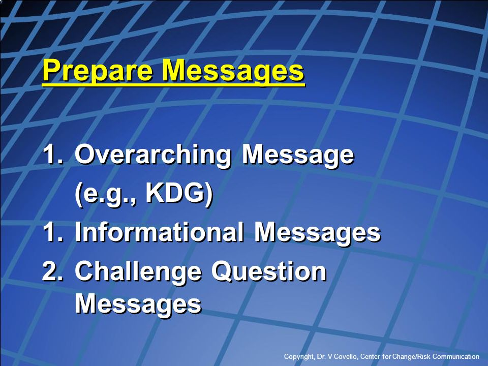 Prepare Messages Overarching Message (e.g., KDG)