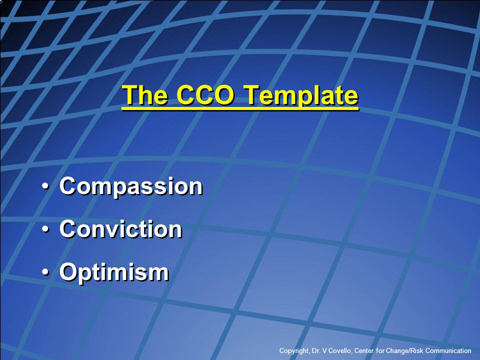 The CCO Template Compassion Conviction Optimism