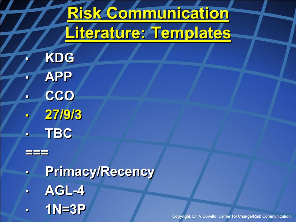 Risk Communication Literature: Templates