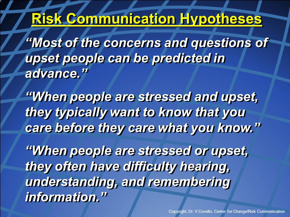 Risk Communication Hypotheses