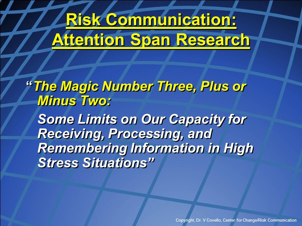 Risk Communication: Attention Span Research