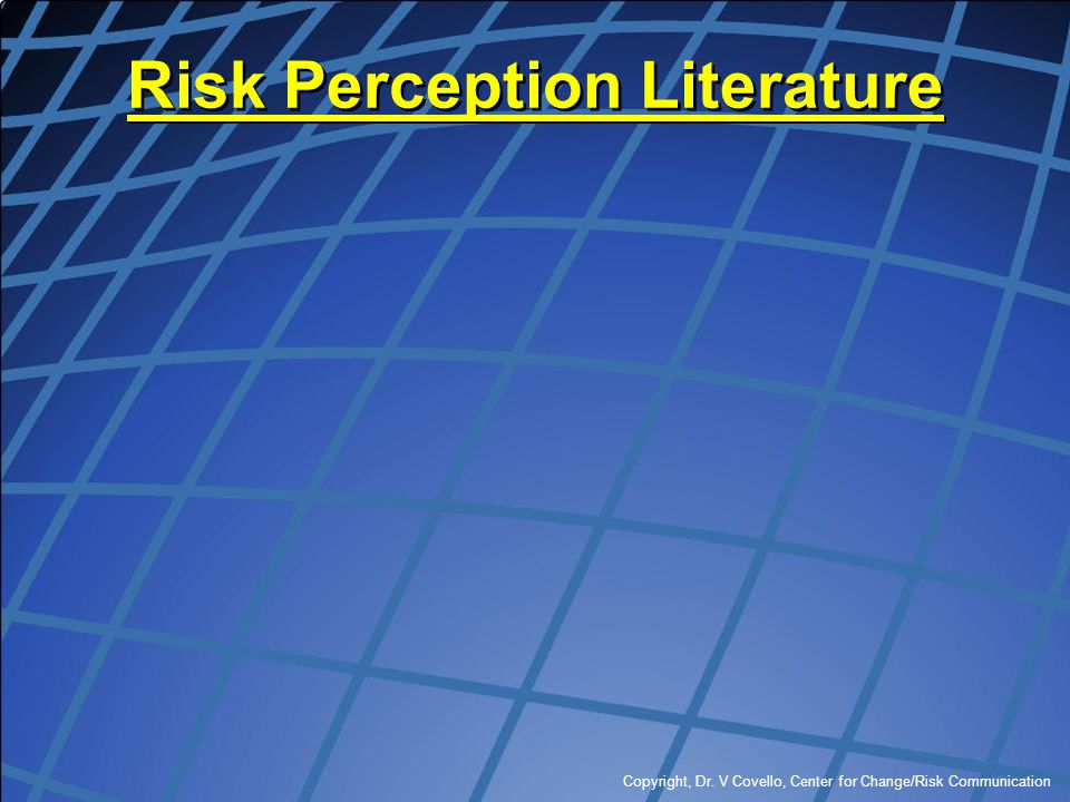 Risk Perception Literature