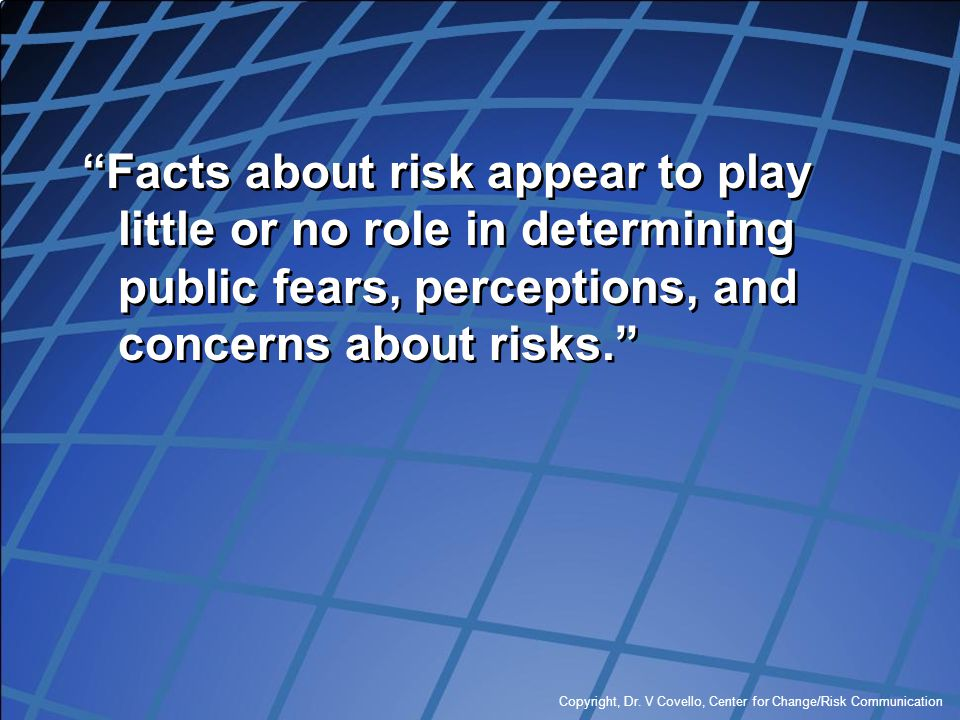 Facts about risk appear to play little or no role in determining public fears, perceptions, and concerns about risks.