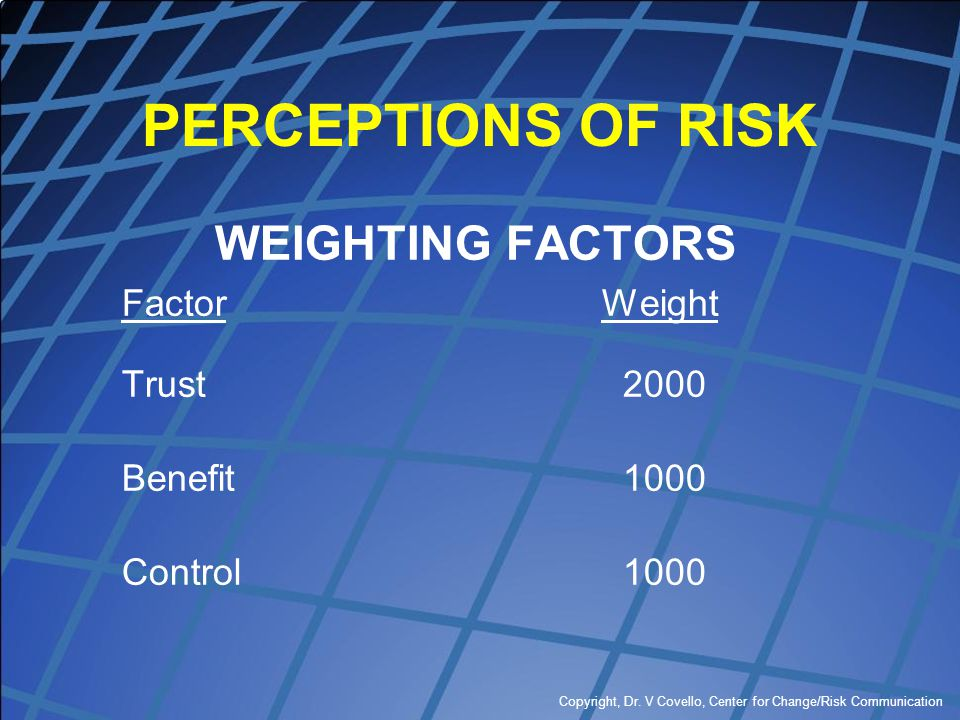 PERCEPTIONS OF RISK WEIGHTING FACTORS Factor Weight Trust 2000