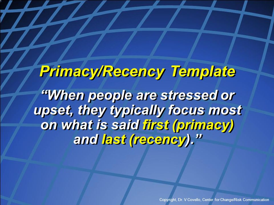 Primacy/Recency Template
