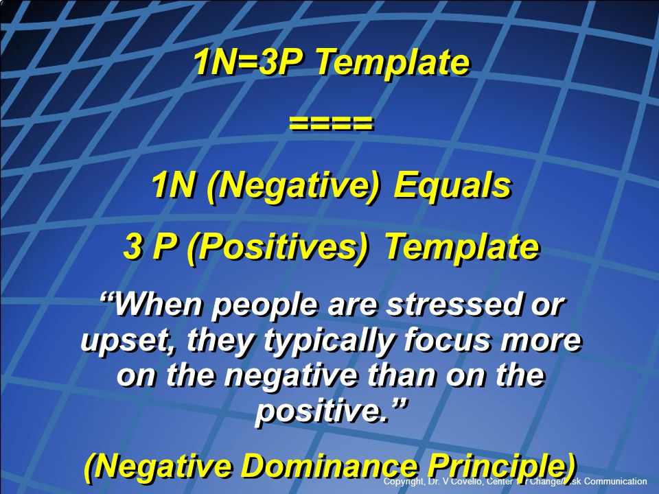 3 P (Positives) Template (Negative Dominance Principle)