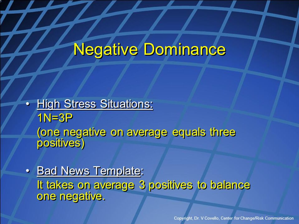 Negative Dominance High Stress Situations: 1N=3P