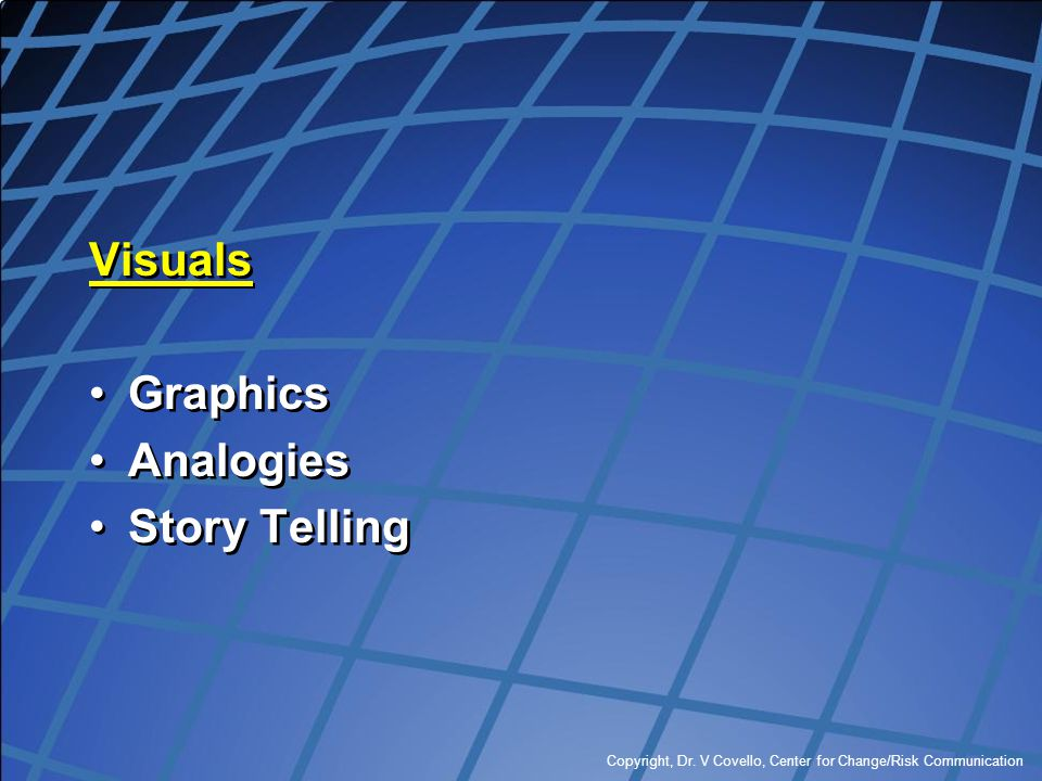 Visuals Graphics Analogies Story Telling