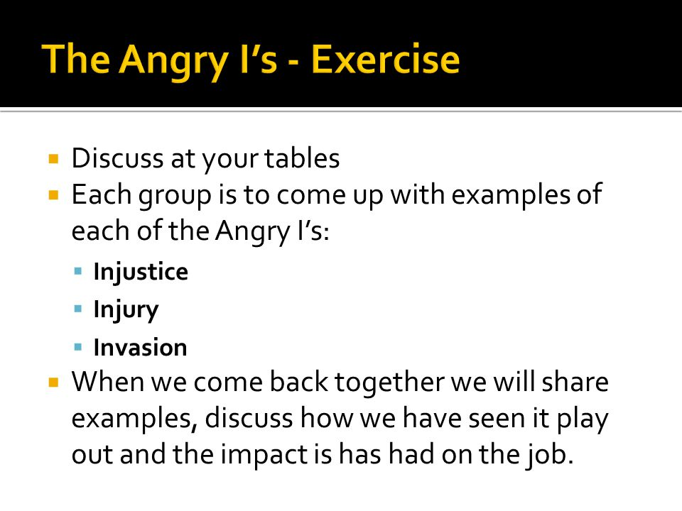 The Angry I's - Exercise