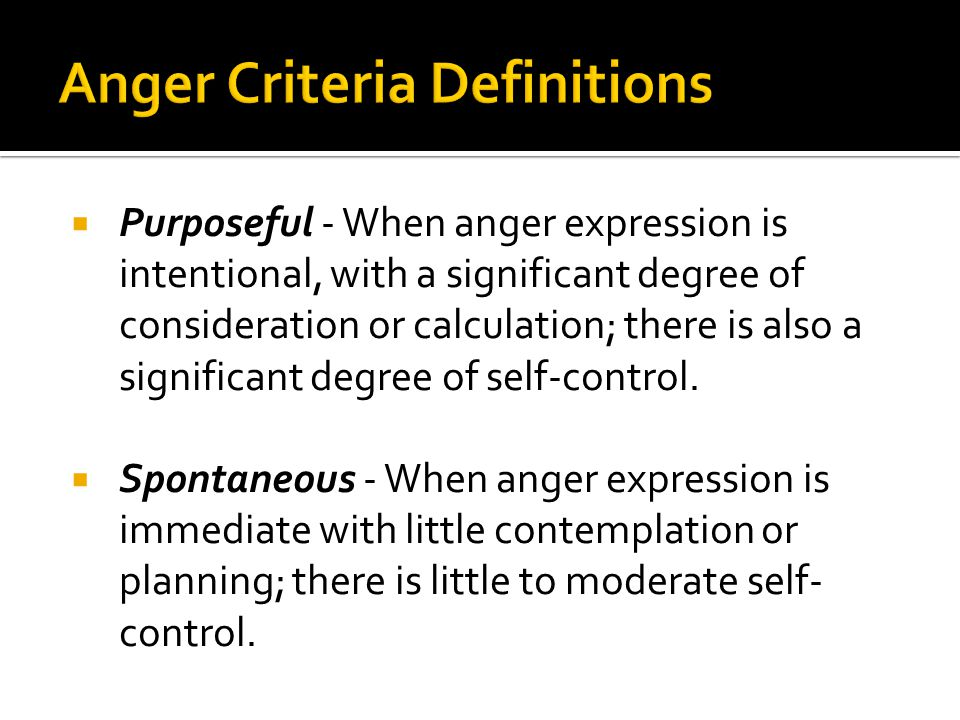 Anger Criteria Definitions