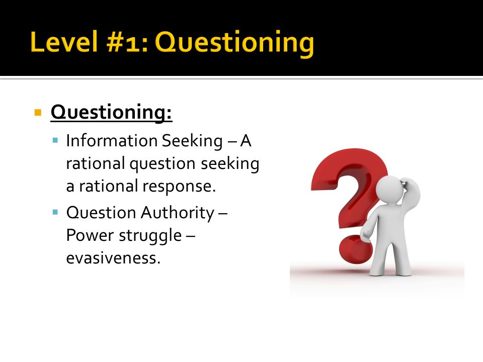 Level #1: Questioning Questioning: