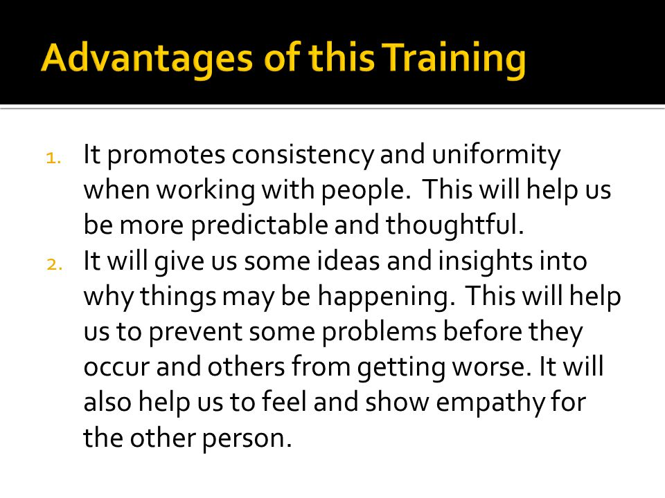 Advantages of this Training