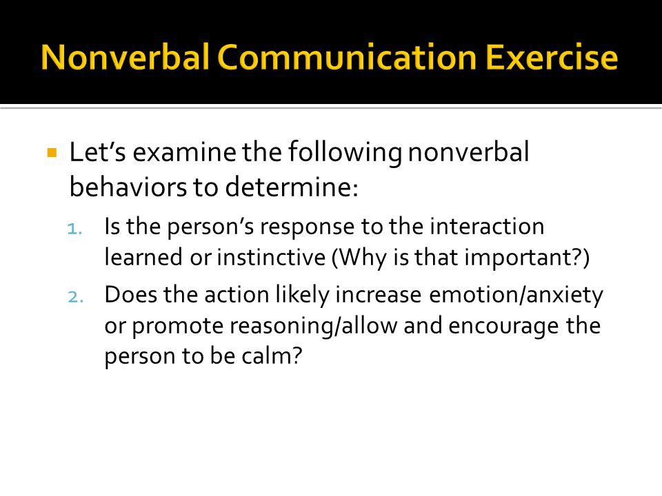 Nonverbal Communication Exercise