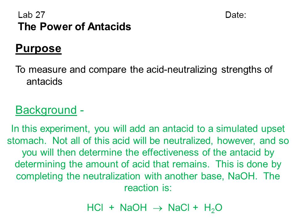 Purpose Background - The Power of Antacids