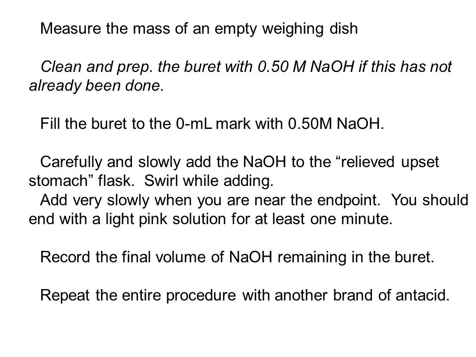 Measure the mass of an empty weighing dish