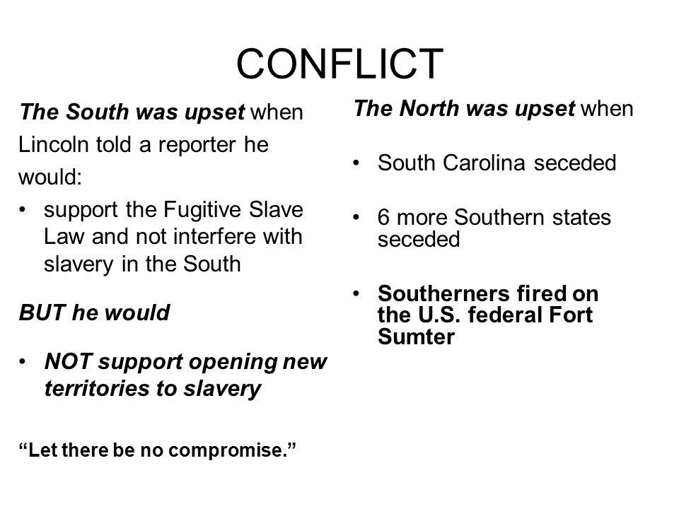 CONFLICT The South was upset when The North was upset when