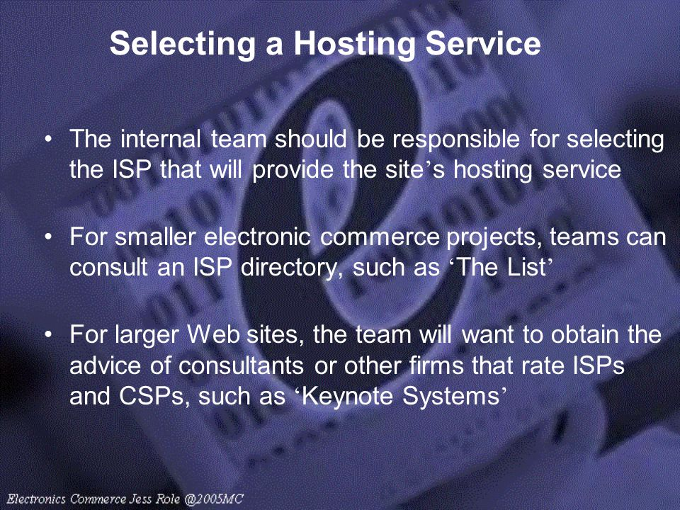 Selecting a Hosting Service