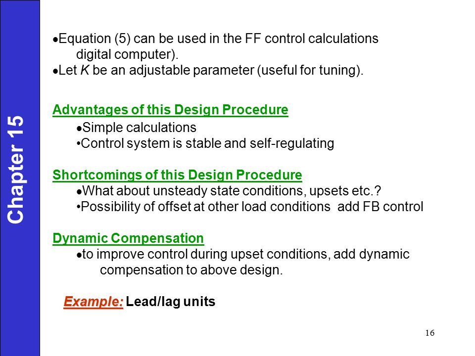 Chapter 15 Equation (5) can be used in the FF control calculations