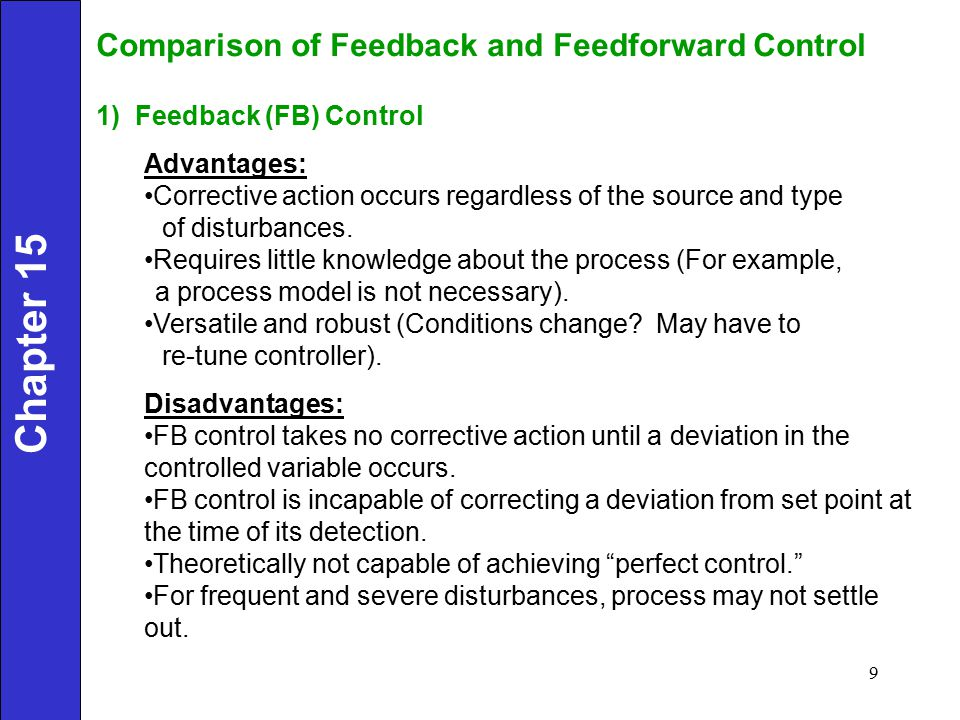 Chapter 15 Comparison of Feedback and Feedforward Control