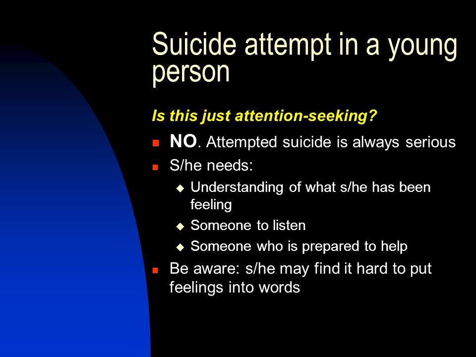 Suicide attempt in a young person