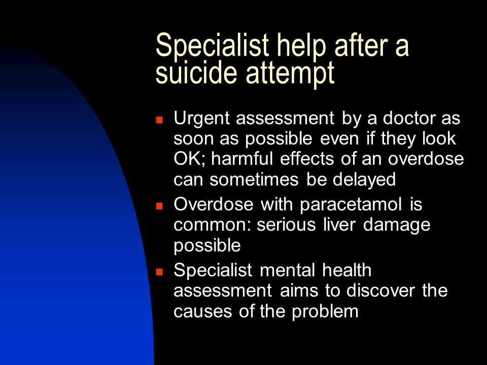 Specialist help after a suicide attempt
