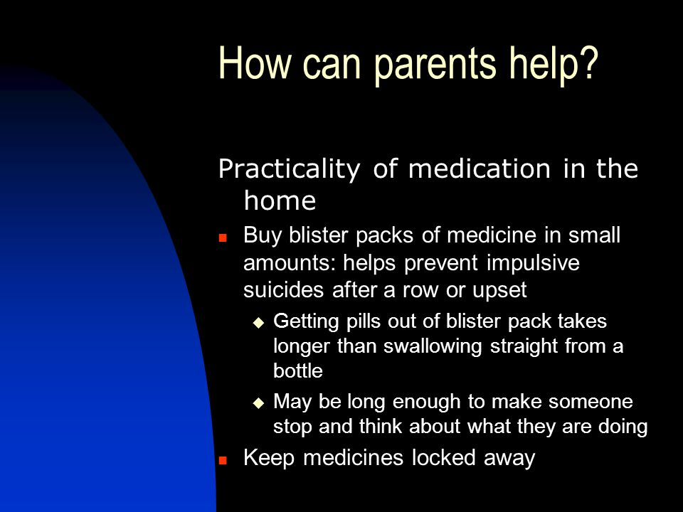 How can parents help Practicality of medication in the home